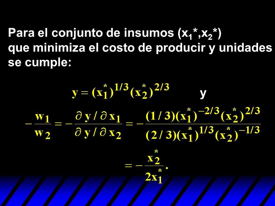 Para el conjunto de insumos (x 1 *,x 2 *) que minimiza el costo de producir y unidades se cumple: y