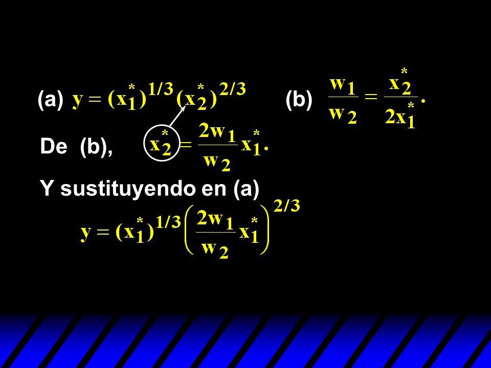 (a)(b) De (b), Y sustituyendo en (a)