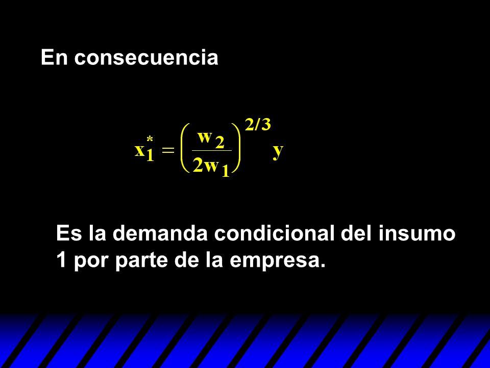 En consecuencia Es la demanda condicional del insumo 1 por parte de la empresa.
