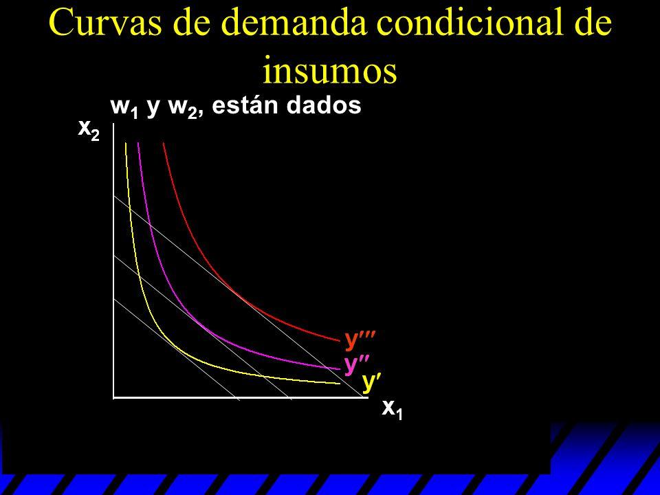 w 1 y w 2, están dados Curvas de demanda condicional de insumos