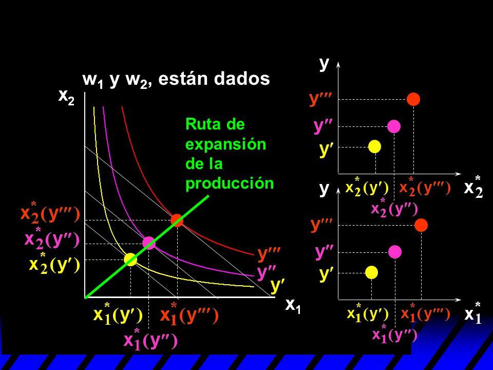 Ruta de expansión de la producción w 1 y w 2, están dados