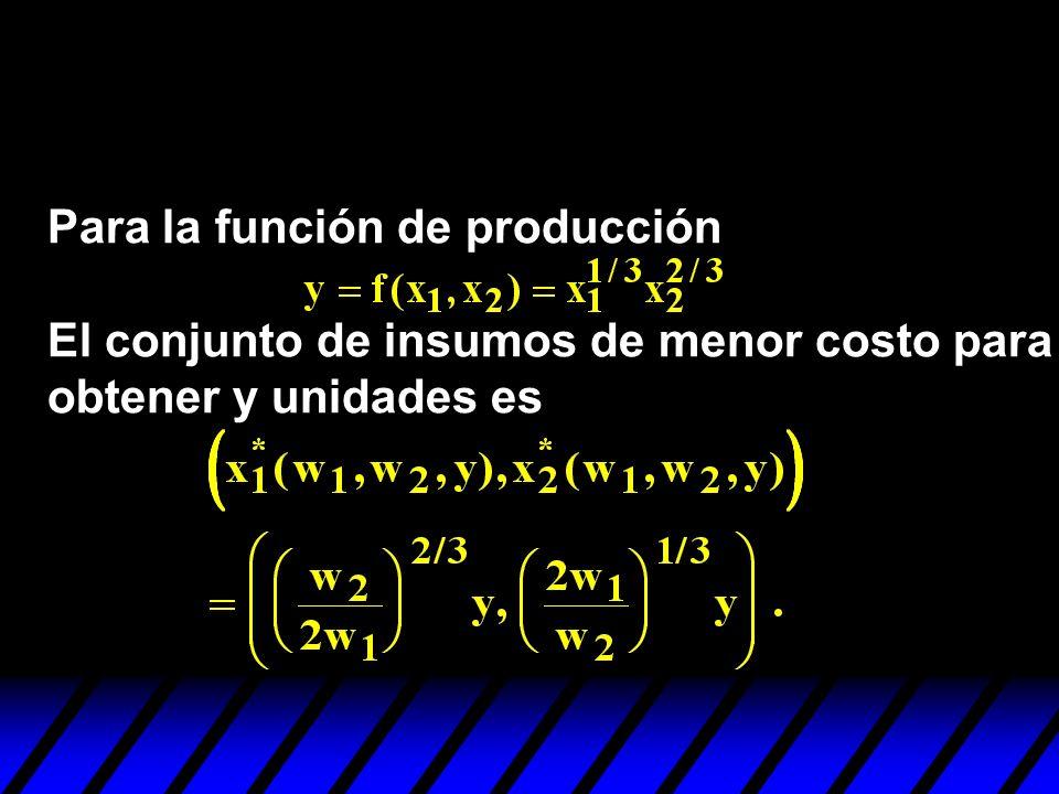 Para la función de producción El conjunto de insumos de menor costo para obtener y unidades es