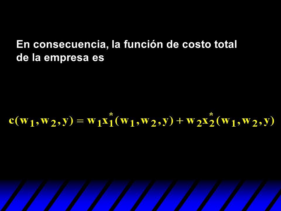 En consecuencia, la función de costo total de la empresa es