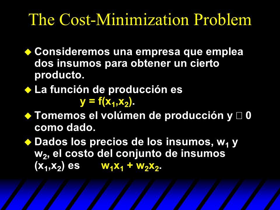 The Cost-Minimization Problem u Consideremos una empresa que emplea dos insumos para obtener un cierto producto. u La función de producción es y = f(x