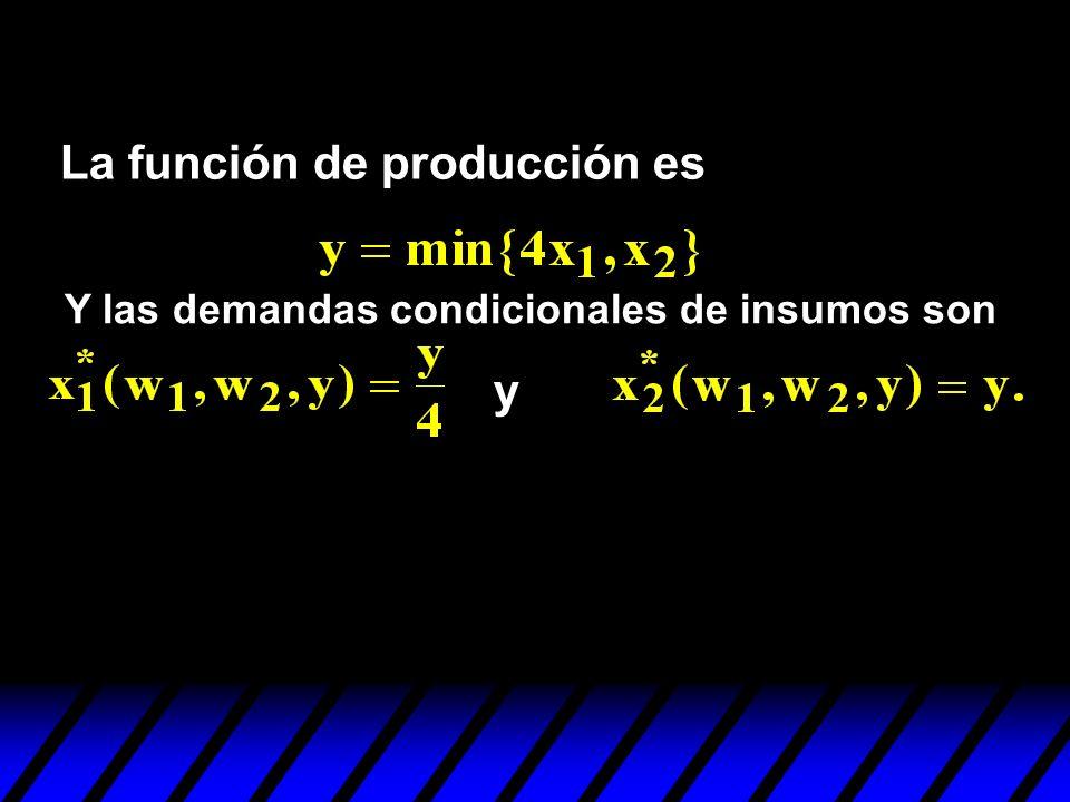 La función de producción es Y las demandas condicionales de insumos son y
