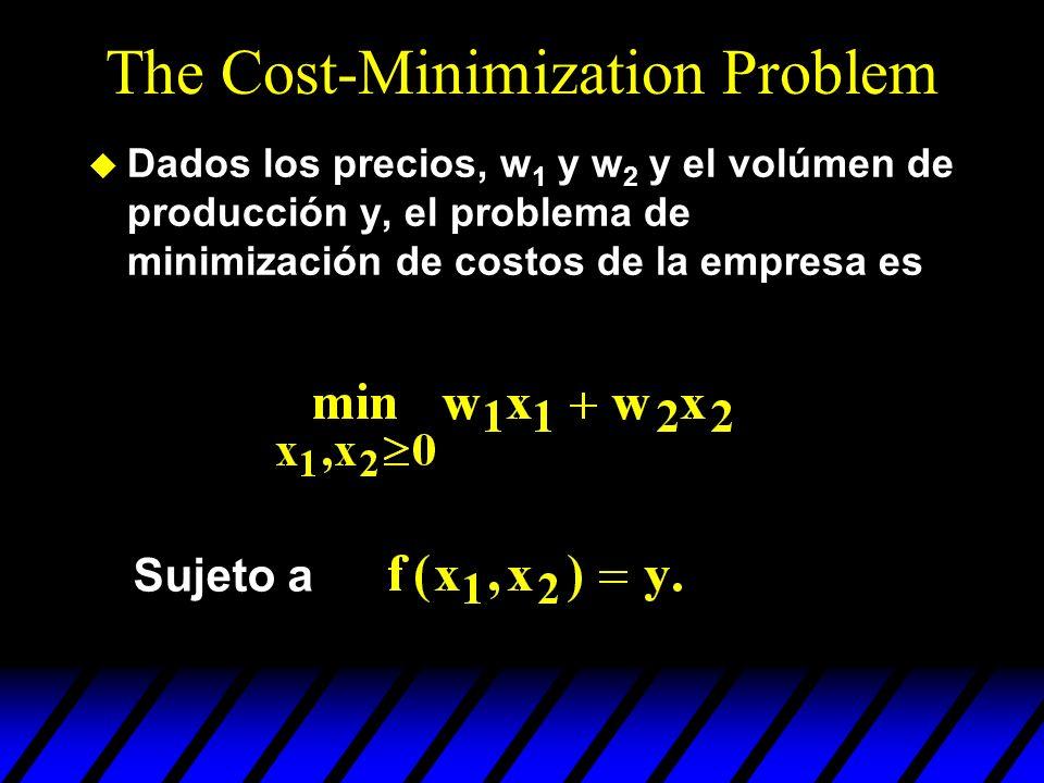 The Cost-Minimization Problem u Dados los precios, w 1 y w 2 y el volúmen de producción y, el problema de minimización de costos de la empresa es Suje