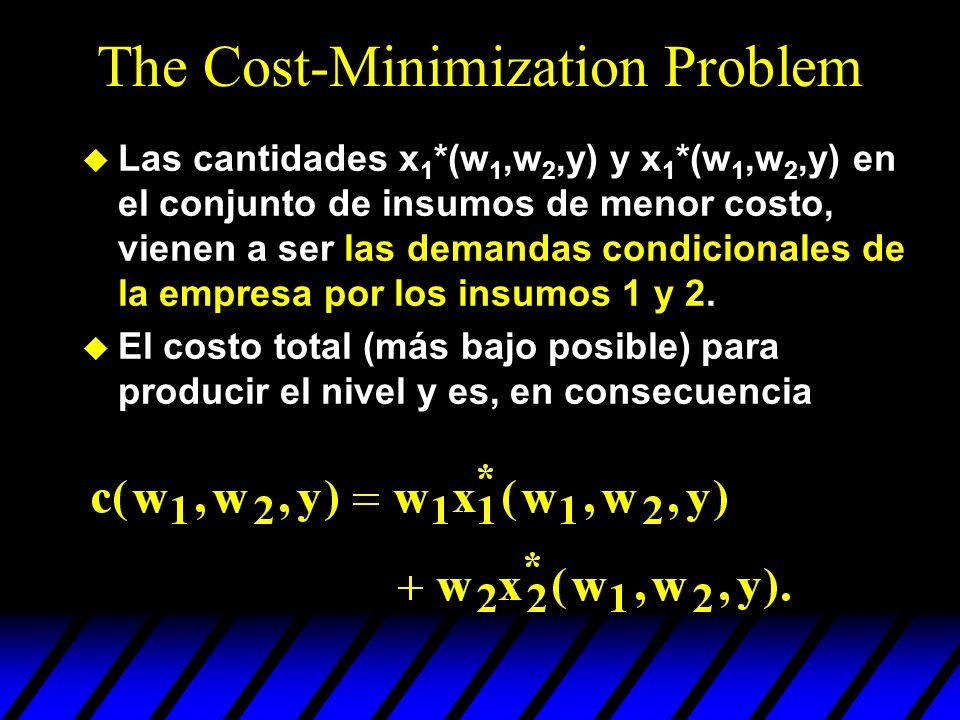 The Cost-Minimization Problem u Las cantidades x 1 *(w 1,w 2,y) y x 1 *(w 1,w 2,y) en el conjunto de insumos de menor costo, vienen a ser las demandas