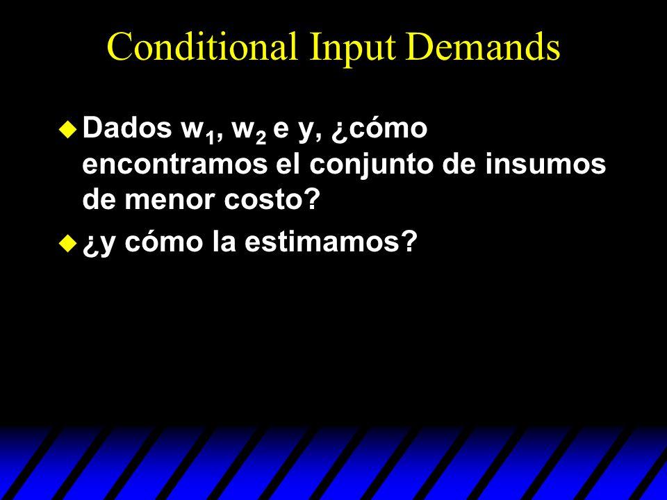u El problema de minimización de costos en el corto plazo es el problema de minimización de costos en el largo plazo suje a la restricción adicional: x 2 = x 2.