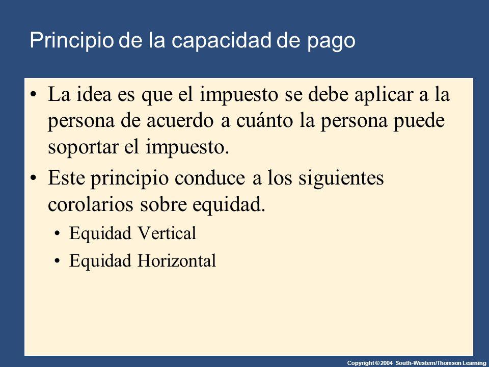 Copyright © 2004 South-Western/Thomson Learning Principio de la capacidad de pago La idea es que el impuesto se debe aplicar a la persona de acuerdo a cuánto la persona puede soportar el impuesto.