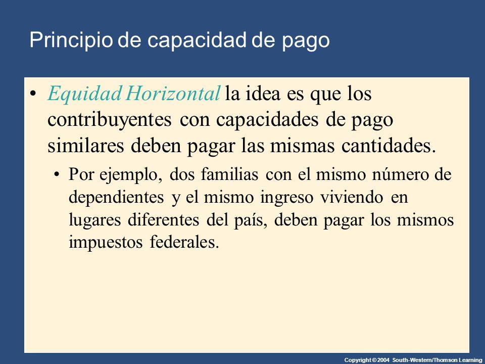 Copyright © 2004 South-Western/Thomson Learning Principio de capacidad de pago Equidad Horizontal la idea es que los contribuyentes con capacidades de pago similares deben pagar las mismas cantidades.