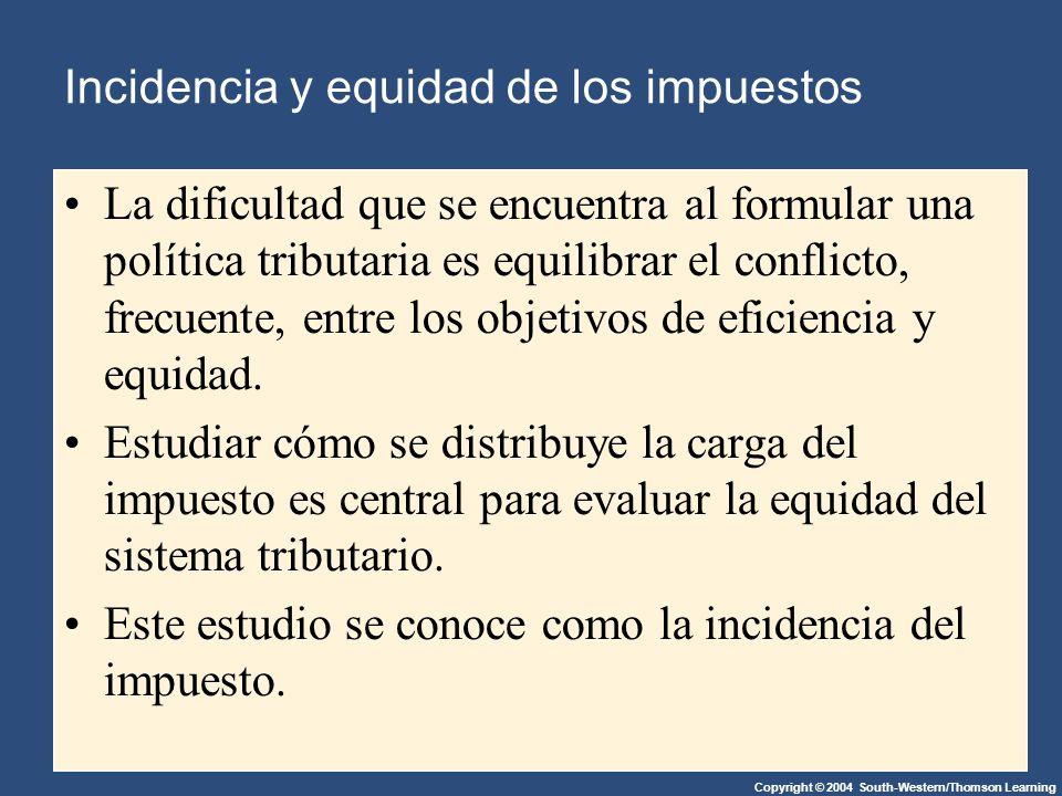 Copyright © 2004 South-Western/Thomson Learning Incidencia y equidad de los impuestos La dificultad que se encuentra al formular una política tributaria es equilibrar el conflicto, frecuente, entre los objetivos de eficiencia y equidad.
