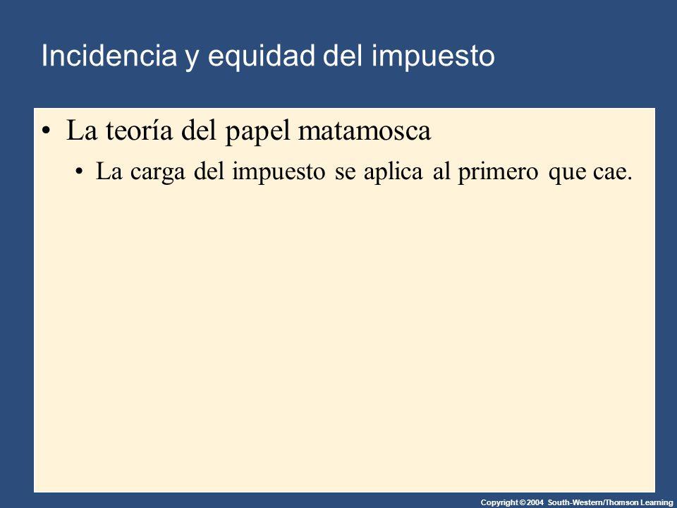 Copyright © 2004 South-Western/Thomson Learning Incidencia y equidad del impuesto La teoría del papel matamosca La carga del impuesto se aplica al primero que cae.