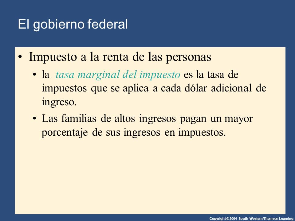 Copyright © 2004 South-Western/Thomson Learning Estados y gobiernos locales Ingresos Impuesto a las ventas Impuesto a la Propiedad Impuesto a los ingresos individuales Impuesto al ingreso de las empresas Gobierno Federal Otros Taxes $