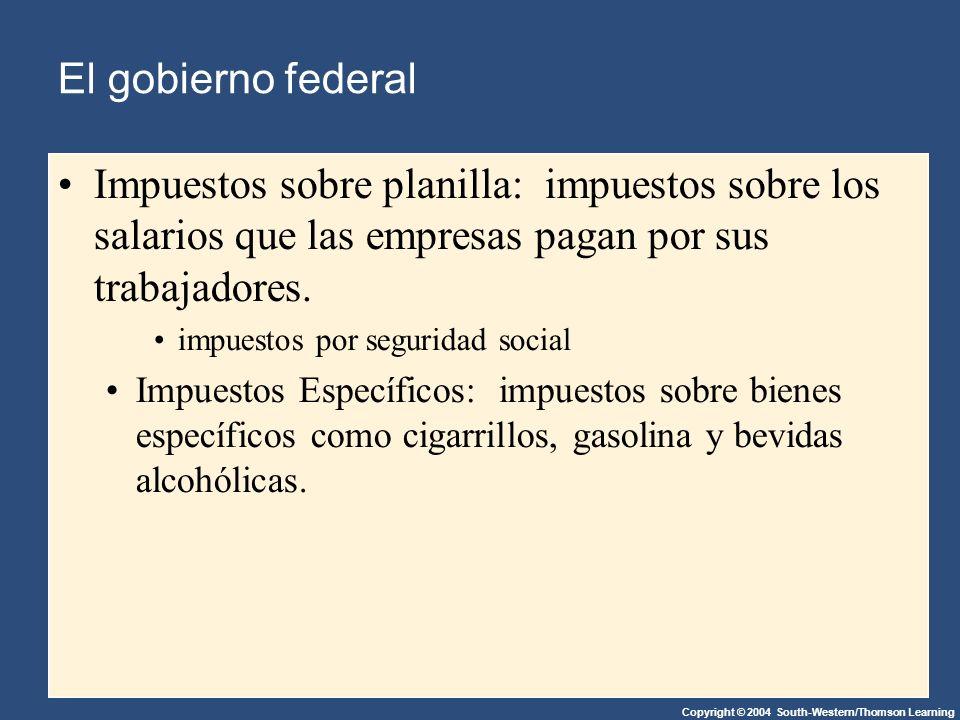 Copyright © 2004 South-Western/Thomson Learning El gobierno federal Impuestos sobre planilla: impuestos sobre los salarios que las empresas pagan por sus trabajadores.