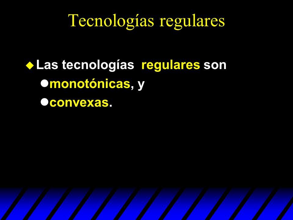 Tecnologías regulares Las tecnologías regulares son monotónicas, y convexas.