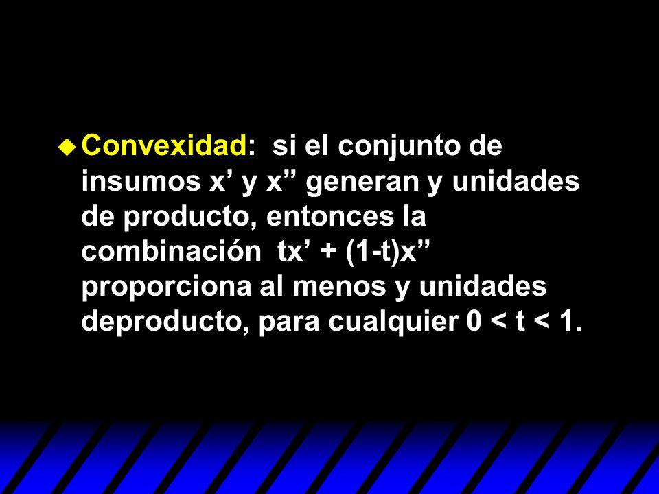 Convexidad: si el conjunto de insumos x y x generan y unidades de producto, entonces la combinación tx + (1-t)x proporciona al menos y unidades deprod