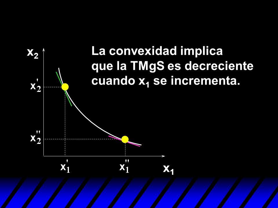 x2x2 x1x1 La convexidad implica que la TMgS es decreciente cuando x 1 se incrementa.