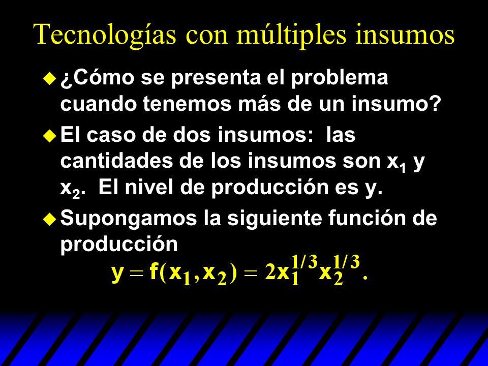Tecnologías con múltiples insumos ¿Cómo se presenta el problema cuando tenemos más de un insumo? El caso de dos insumos: las cantidades de los insumos