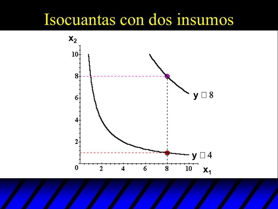 Isocuantas con dos insumos y y x1x1 x2x2