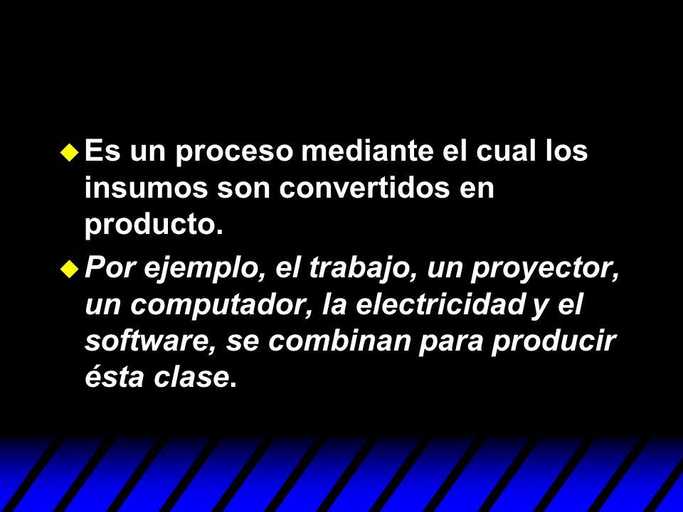Es un proceso mediante el cual los insumos son convertidos en producto. Por ejemplo, el trabajo, un proyector, un computador, la electricidad y el sof