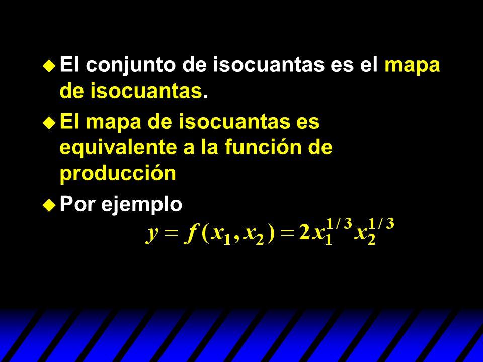 El conjunto de isocuantas es el mapa de isocuantas. El mapa de isocuantas es equivalente a la función de producción Por ejemplo