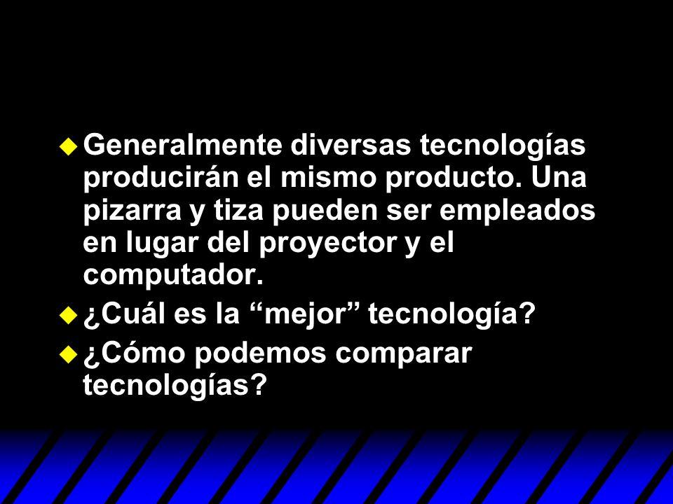 Generalmente diversas tecnologías producirán el mismo producto. Una pizarra y tiza pueden ser empleados en lugar del proyector y el computador. ¿Cuál