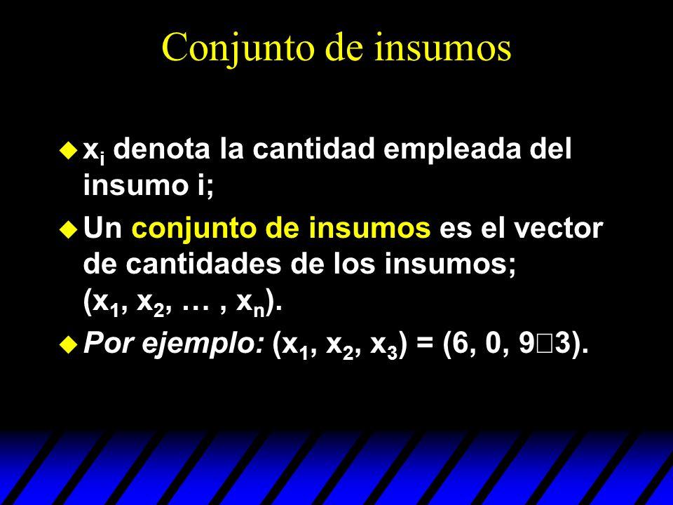 Conjunto de insumos x i denota la cantidad empleada del insumo i; Un conjunto de insumos es el vector de cantidades de los insumos; (x 1, x 2, …, x n