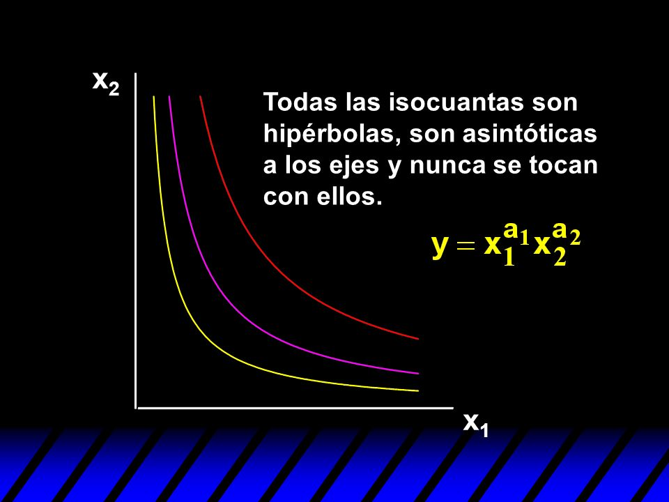x2x2 x1x1 Todas las isocuantas son hipérbolas, son asintóticas a los ejes y nunca se tocan con ellos.