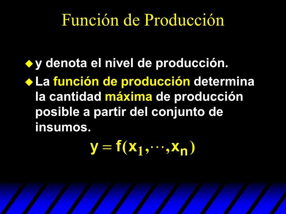 Función de Producción y denota el nivel de producción. La función de producción determina la cantidad máxima de producción posible a partir del conjun