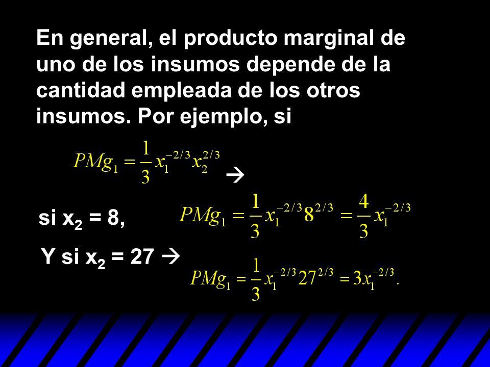 En general, el producto marginal de uno de los insumos depende de la cantidad empleada de los otros insumos. Por ejemplo, si Y si x 2 = 27 si x 2 = 8,