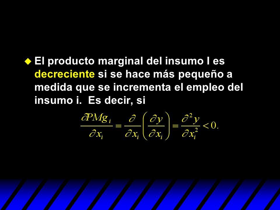 El producto marginal del insumo I es decreciente si se hace más pequeño a medida que se incrementa el empleo del insumo i. Es decir, si