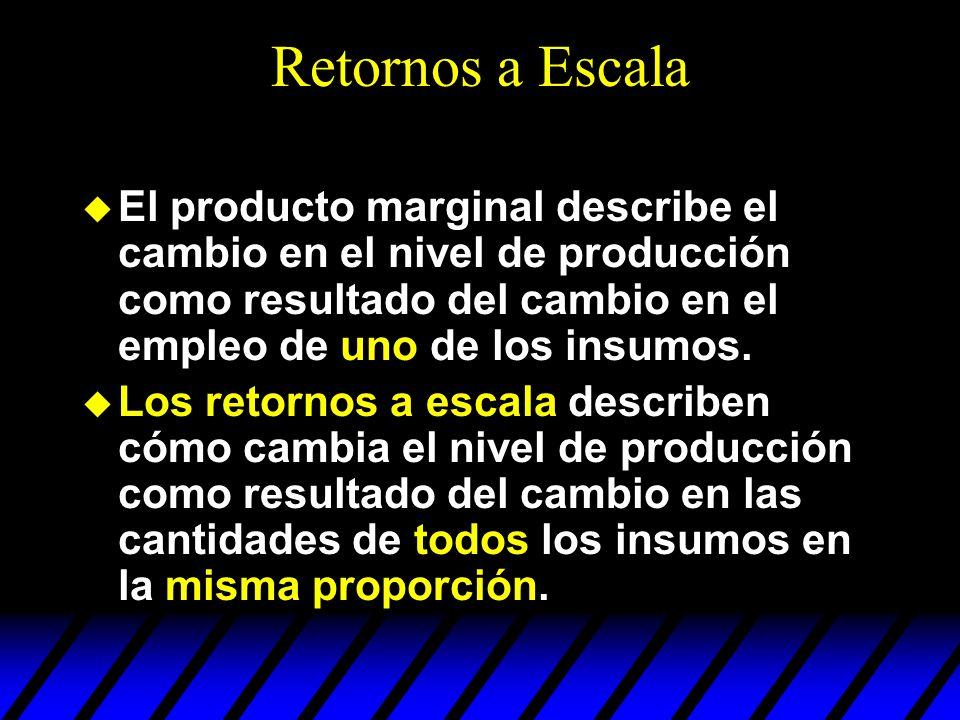 Retornos a Escala El producto marginal describe el cambio en el nivel de producción como resultado del cambio en el empleo de uno de los insumos. Los