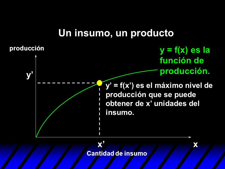y = f(x) es la función de producción. xx Cantidad de insumo producción y y = f(x) es el máximo nivel de producción que se puede obtener de x unidades