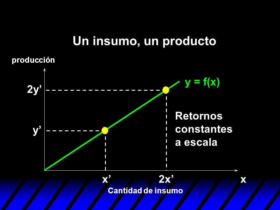 y = f(x) xx y 2x 2y Retornos constantes a escala Cantidad de insumo producción Un insumo, un producto