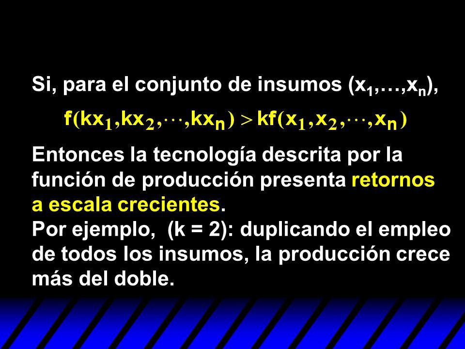 Entonces la tecnología descrita por la función de producción presenta retornos a escala crecientes. Por ejemplo, (k = 2): duplicando el empleo de todo