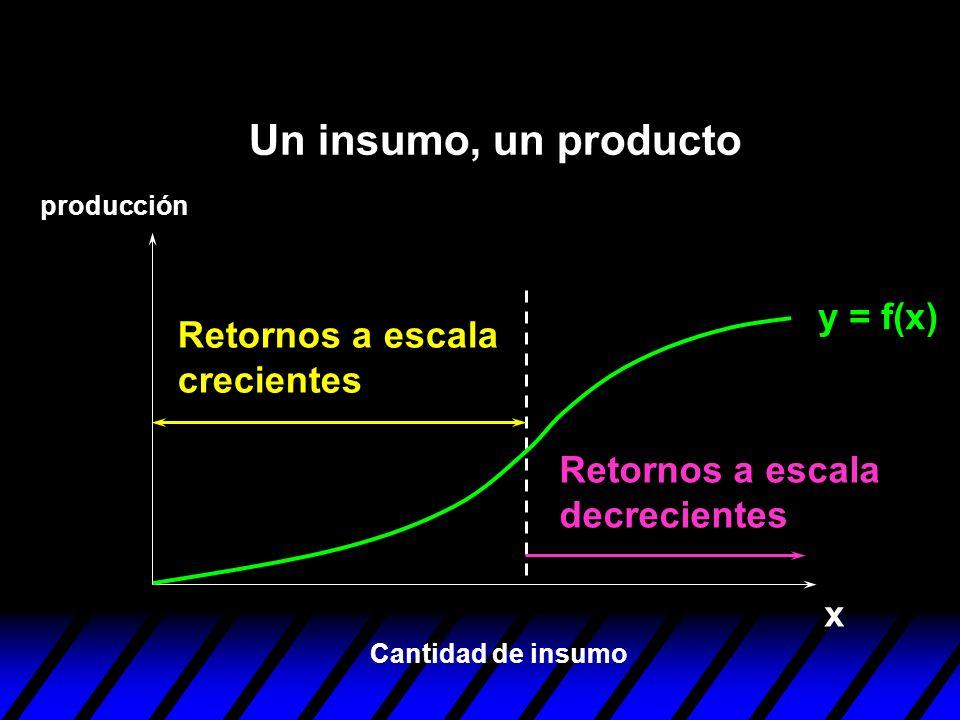 y = f(x) x Retornos a escala decrecientes Retornos a escala crecientes Cantidad de insumo producción Un insumo, un producto