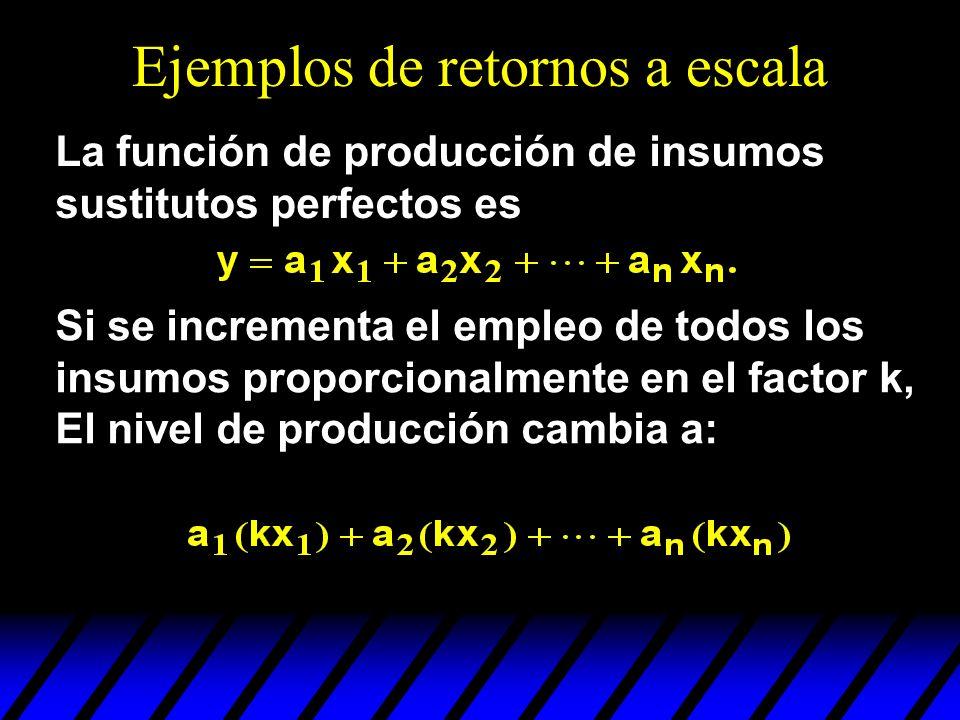 Ejemplos de retornos a escala La función de producción de insumos sustitutos perfectos es Si se incrementa el empleo de todos los insumos proporcional