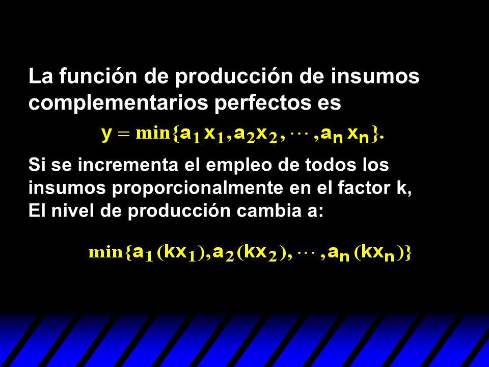 La función de producción de insumos complementarios perfectos es Si se incrementa el empleo de todos los insumos proporcionalmente en el factor k, El