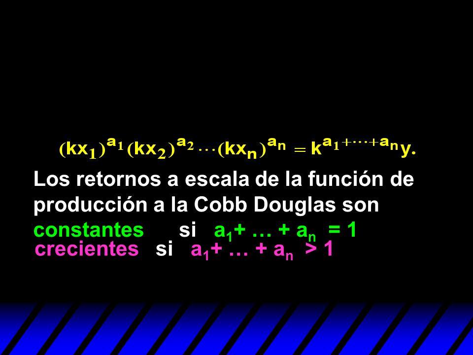 crecientes si a 1 + … + a n > 1 Los retornos a escala de la función de producción a la Cobb Douglas son constantes si a 1 + … + a n = 1