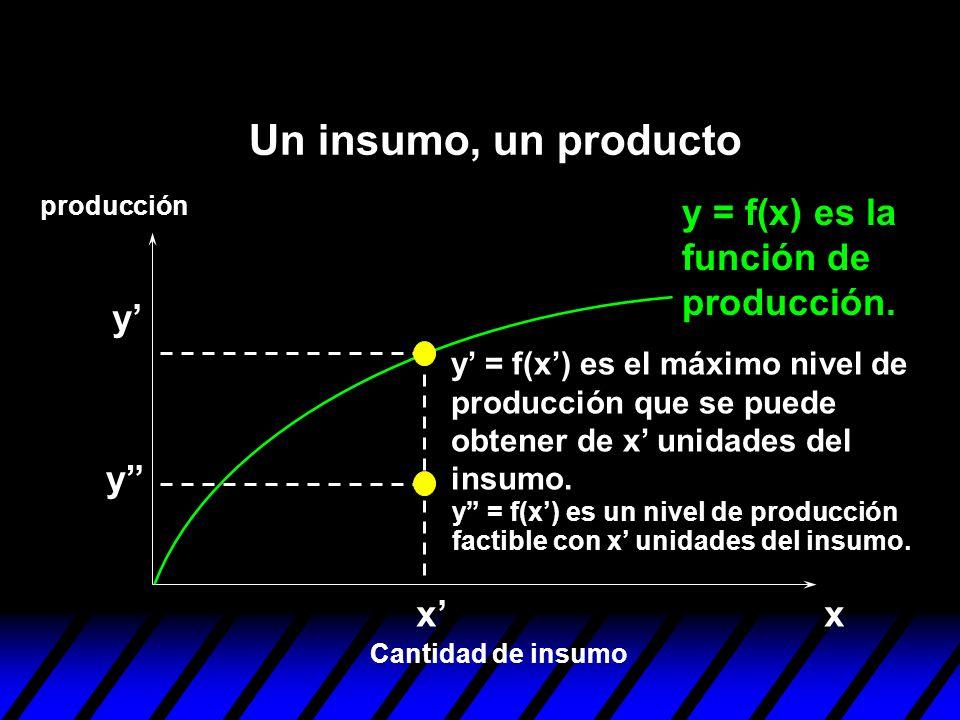 xx y y y = f(x) es un nivel de producción factible con x unidades del insumo. y = f(x) es la función de producción. Cantidad de insumo producción Un i