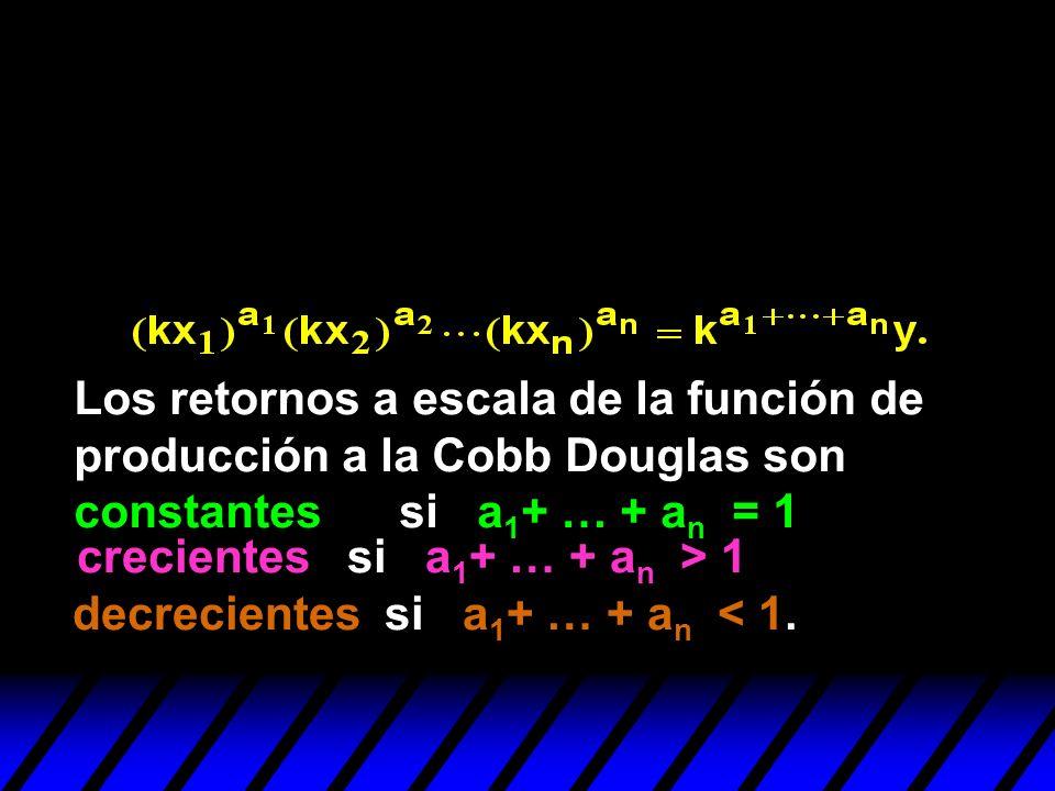 decrecientes si a 1 + … + a n < 1. Los retornos a escala de la función de producción a la Cobb Douglas son constantes si a 1 + … + a n = 1 crecientes