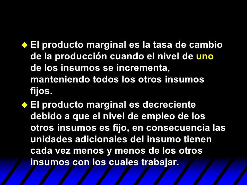 El producto marginal es la tasa de cambio de la producción cuando el nivel de uno de los insumos se incrementa, manteniendo todos los otros insumos fi
