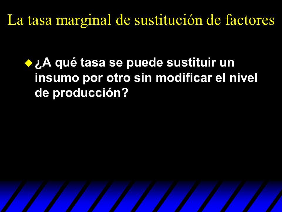 La tasa marginal de sustitución de factores ¿A qué tasa se puede sustituir un insumo por otro sin modificar el nivel de producción?