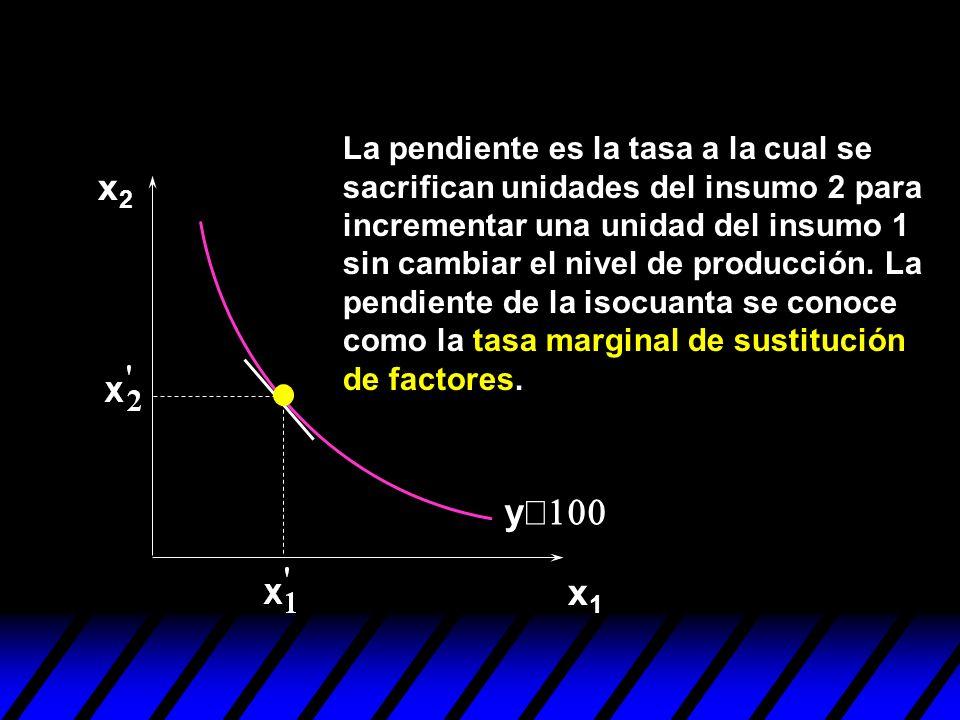x2x2 x1x1 y La pendiente es la tasa a la cual se sacrifican unidades del insumo 2 para incrementar una unidad del insumo 1 sin cambiar el nivel de pro