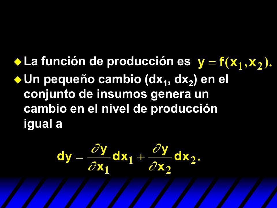 La función de producción es Un pequeño cambio (dx 1, dx 2 ) en el conjunto de insumos genera un cambio en el nivel de producción igual a