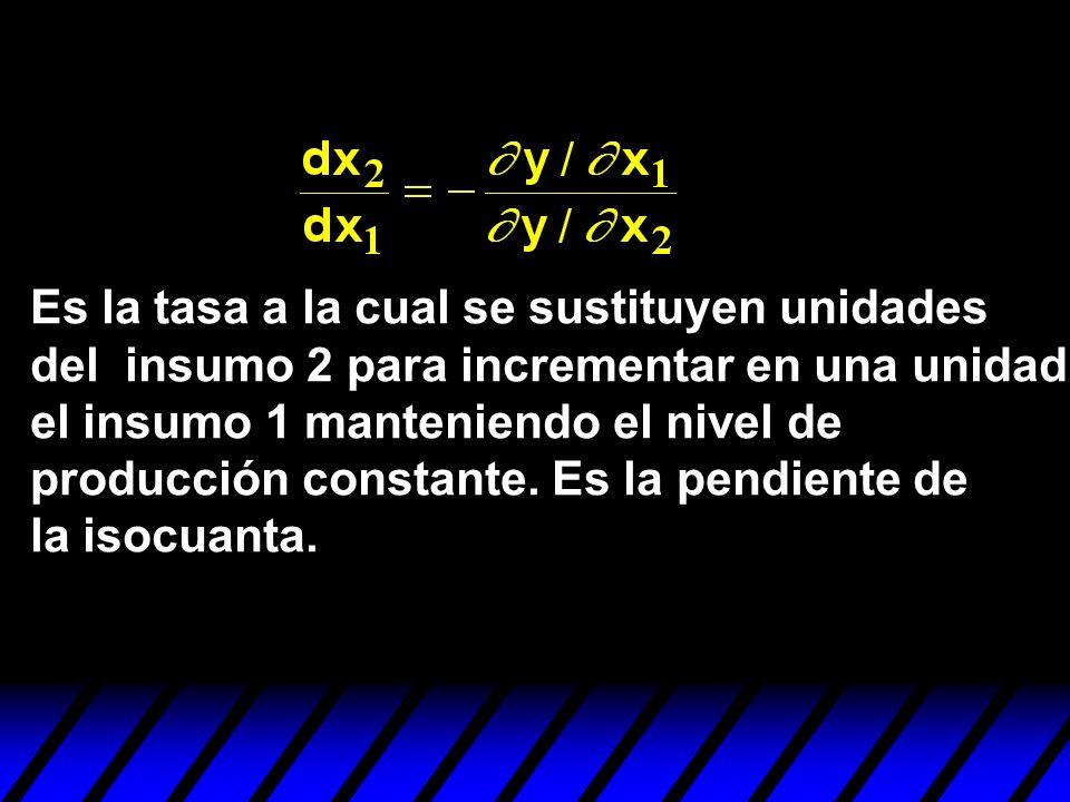 Es la tasa a la cual se sustituyen unidades del insumo 2 para incrementar en una unidad el insumo 1 manteniendo el nivel de producción constante. Es l