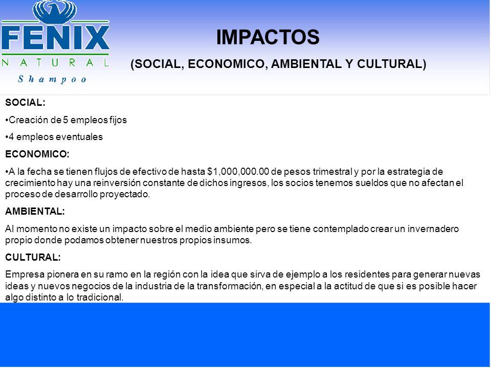 IMPACTOS (SOCIAL, ECONOMICO, AMBIENTAL Y CULTURAL) SOCIAL: Creación de 5 empleos fijos 4 empleos eventuales ECONOMICO: A la fecha se tienen flujos de