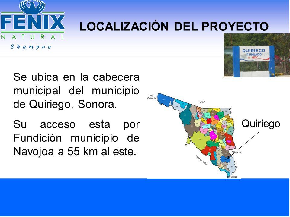 LOCALIZACIÓN DEL PROYECTO Se ubica en la cabecera municipal del municipio de Quiriego, Sonora. Su acceso esta por Fundición municipio de Navojoa a 55