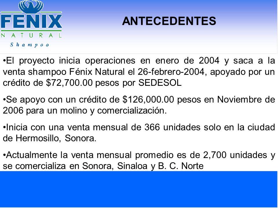 ANTECEDENTES El proyecto inicia operaciones en enero de 2004 y saca a la venta shampoo Fénix Natural el 26-febrero-2004, apoyado por un crédito de $72