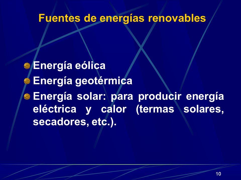 10 Fuentes de energías renovables Energía eólica Energía geotérmica Energía solar: para producir energía eléctrica y calor (termas solares, secadores,
